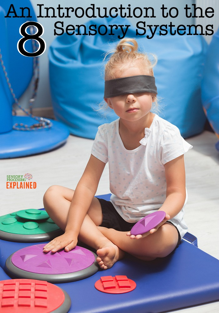 "a young blond girl sits blindfolded on a blue mat holding a purple textured piece while touching another purple textured piece with her other hand. The text reads ""An Introduction to the 8 Sensory Systems"""